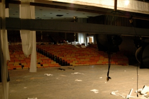 Dave Ottalini/ For The Bloc~ The theater continues to diminish while construction delays and council members converse.
