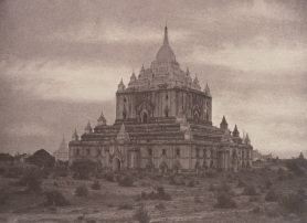 In this photograph of the Thapinyu Pagoda at Pugahm Myo, Burma, Capt. Linnaeus Tripe used pigments and chemicals to painstakingly retouch the clouds in the negatives themselves. (Photo courtesy of the National Gallery of Art)