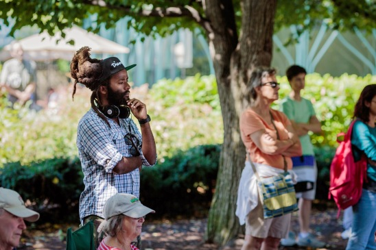 Donovan Johnson, 27, traveled from Falls Church, Va., for the free strings concert. (Charles Mitchell/Bloc Photographer)