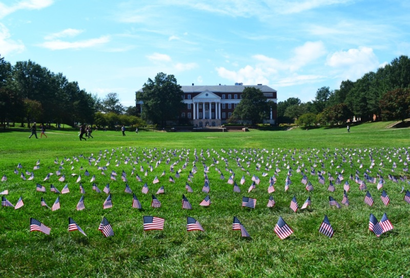 September 2014: An abundance of flags decorate the Mall in commemoration of Sept. 11. (Jennifer Hopkins/For The Bloc)