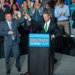Featured in this photo is Ulman (left) and O'Malley (right), speaking about the importance of young voters. (Sung-Min Kim/Bloc Photographer)