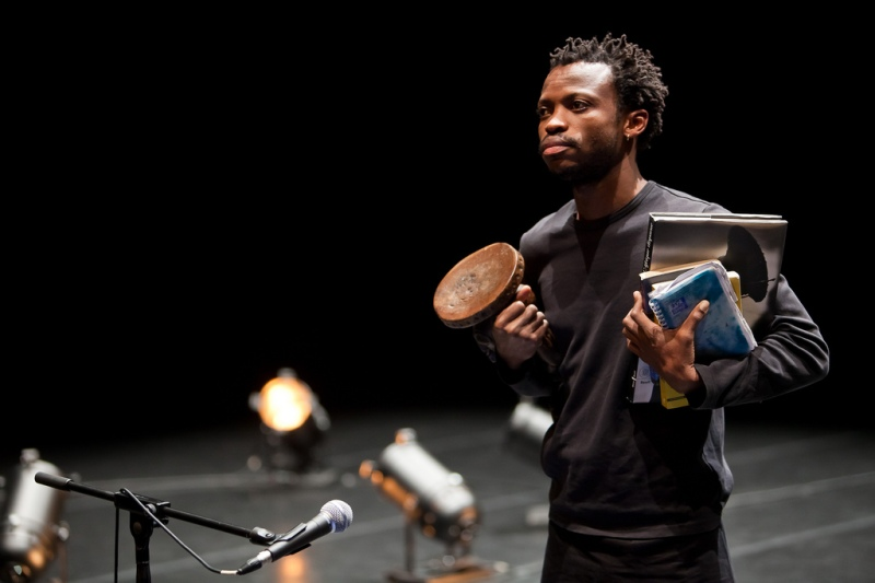 Faustin Linyekula began his performance with some storytelling. (Agathe Poupeney/For The Bloc)