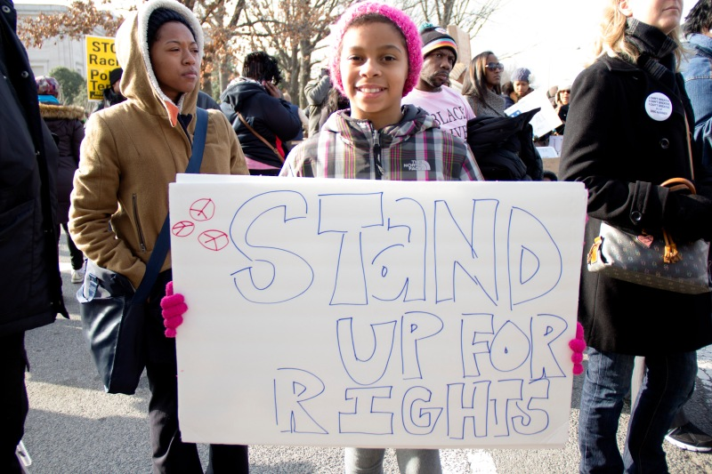 """""""It means fight against people who are being mean and not doing the right things,"""" said Michaela Browntree. (Trey Sherman/Bloc Reporter)"""