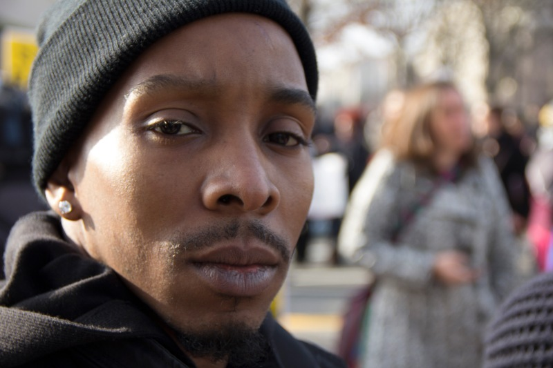 """""""You can't complain about the system if you're not fighting,"""" Mike Browntree said. """"Each individual, if you have a story or have been targeted by police brutality, come out and fight against it. People in masses are powerful."""" (Trey Sherman/Bloc Reporter)"""