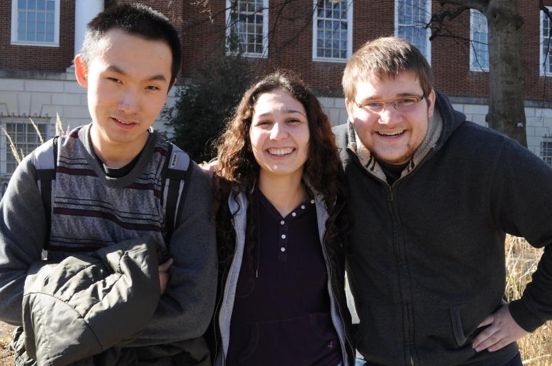 (Left to right): undeclared freshman Joshua Zhang, junior linguistics major Tabatha Ernst, freshman psychology major Benjamin Oursler. (Julia Keane/Bloc Photographer)