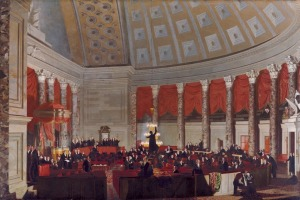"""Samuel Finley Breese Morse's """"The House of Representatives"""" is a veritable """"who's who"""" of 1822's Congress, paired in the gallery with an identifying placard of all 86 figures. (Image courtesy of the National Gallery of Art/Corcoran Collection)"""
