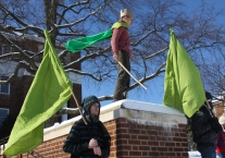 Oliver Owens, Ruler of the Green Kingdom, stands atop the McKeldin steps, contemplating the impending war on his land. (Jack Angelo/Bloc Photographer)
