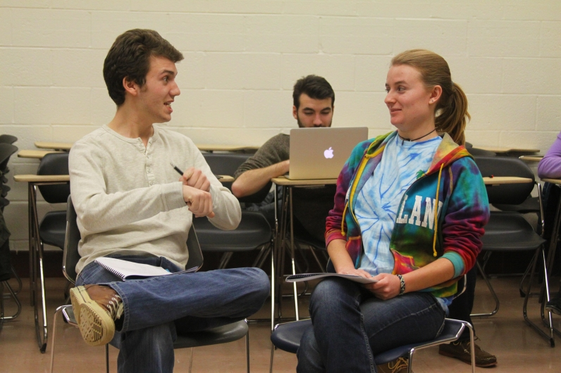 Brother and sister Laertes (sophomore government and politics major Patrick Cochran) and Ophelia interact on stage during a rehearsal for MDSP's Spring show Hamlet. (Jack Angelo/Bloc Photographer)