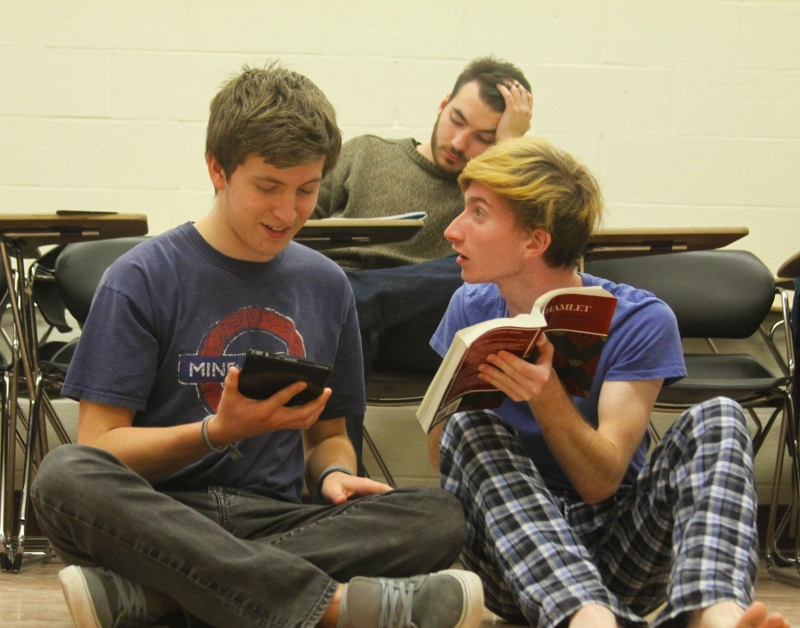 Hamlet (Ben Kleymeyer) explains the words, words, words that he is reading to Polonius (freshman mechanical engineer majorSam Sherman). (Jack Angelo/Bloc Photographer)