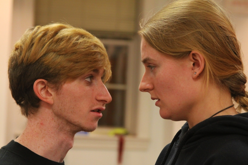 "Hamlet (Ben Kleymeyer) and Ophelia (Dani Gisselbeck) share an intense moment during the ""nunnery scene."" (Jack Angelo/Bloc Photographer)"