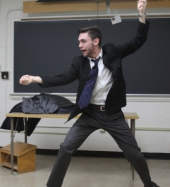 Sophomore economic major Sam Brinker lunges toward his foe on Improv Night. (Jack Angelo/Bloc Photographer)