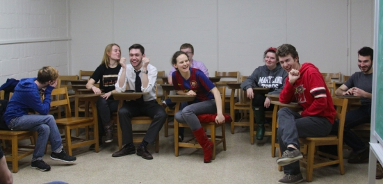 The Maryland Shakespeare Players has an executive board of five (six roles), a cast and crew of 15 (some overlap), and a club membership totaled around 25. (From left to right) Ben Kleymeyer, Dani Gisselbeck, Sam Brinker, Vera Belaia, Griffin Riddler, Libby Brennan, Patrick Cochran and Gianmarco Ancosta. (Jack Angelo/Bloc Photographer)