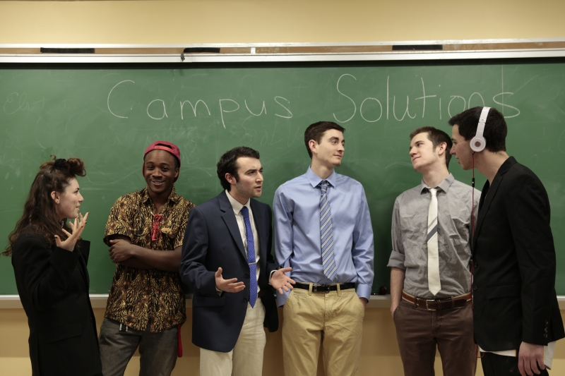 Featured is (from left to right) Deena Rosenblatt, Kofie Yeboah, Adam Goldberg, Jake Britton, Sam Cunningham, and Cameron Neimand.