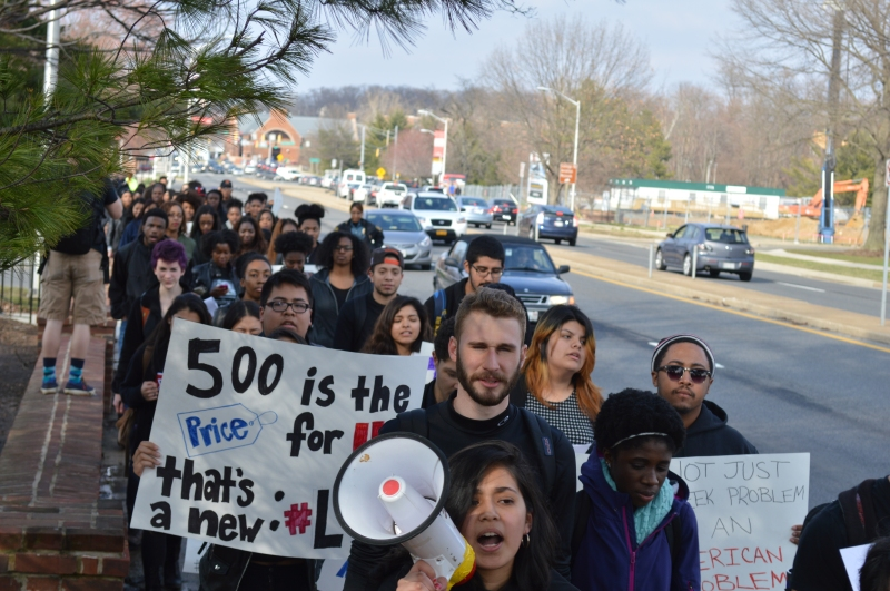 Protesters travelled from Stamp to Frat Row and concluded at the Kappa Sigma house. (Trey Sherman/For The Bloc)
