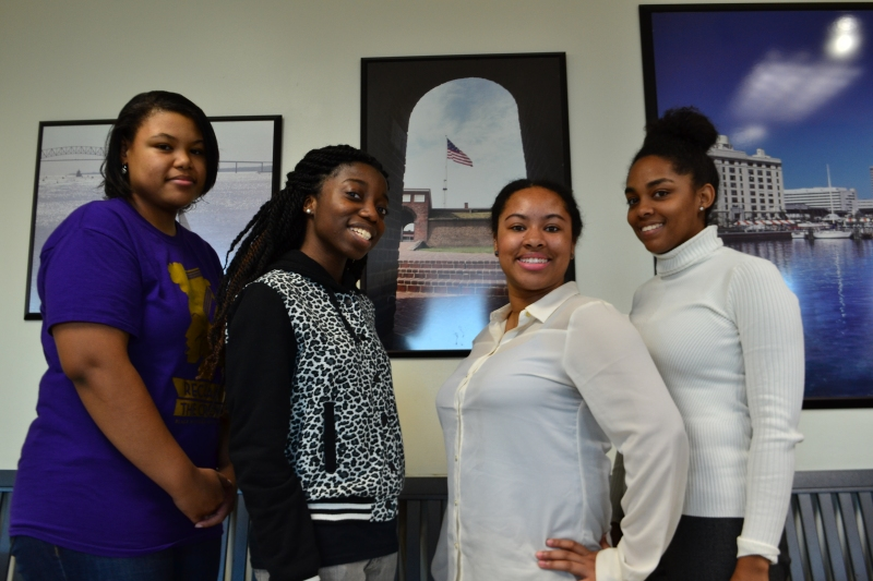 Featured (from right to left): President Jerona Jenkins; senior behavioral and community health major, Vice President Tynia Boyd; senior behavioral and community health major, Secretary Pamela Pecku; junior behavioral and community health major, and Treasurer Miya Treadwell; sophomore broadcast journalism major. (Aiyah Sibay/Bloc Reporter)