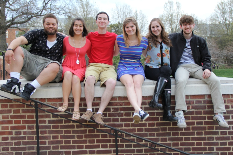 Featured is (from left to right) Kevin Saunders, Emily  Schayer, Lowell Ensel, Molly Podlesny, Brittni Vine and Noah Israel. (Trey Sherman/Bloc Reporter)