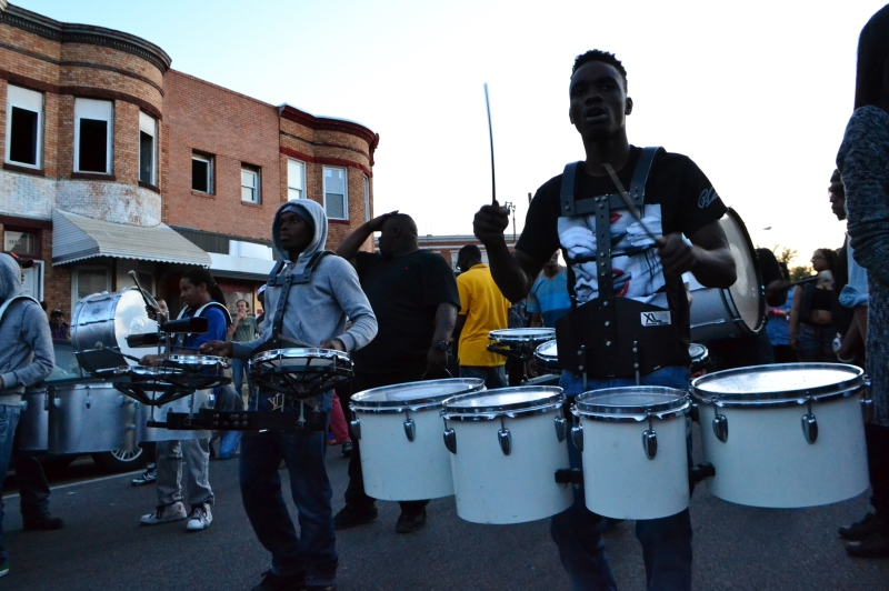 Marching units lay down beats on the Baltimore streets. (Aiyah Sibay/Bloc Reporter)