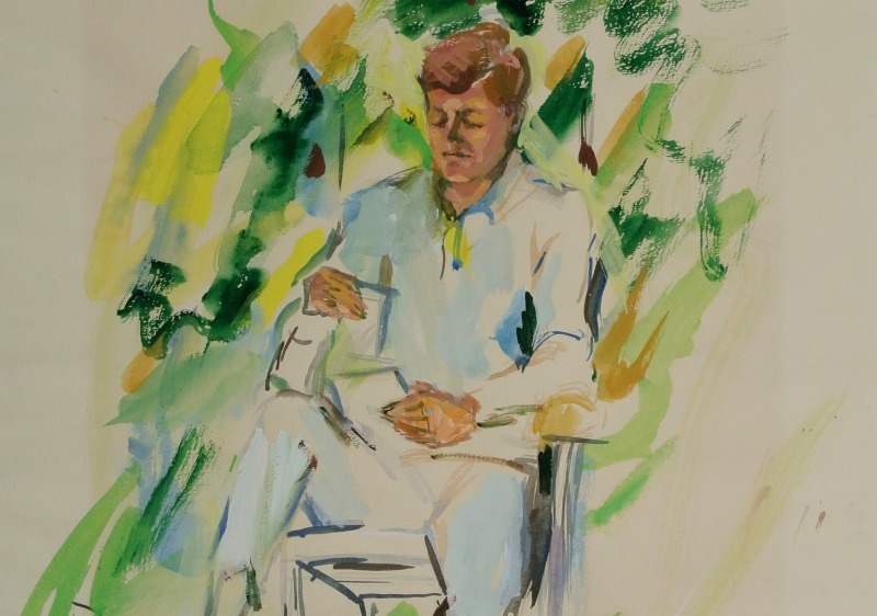 This emerald portrait of John F. Kennedy shows Elaine de Kooning quick, color-driven style. (Photo courtesy of the Smithsonian)