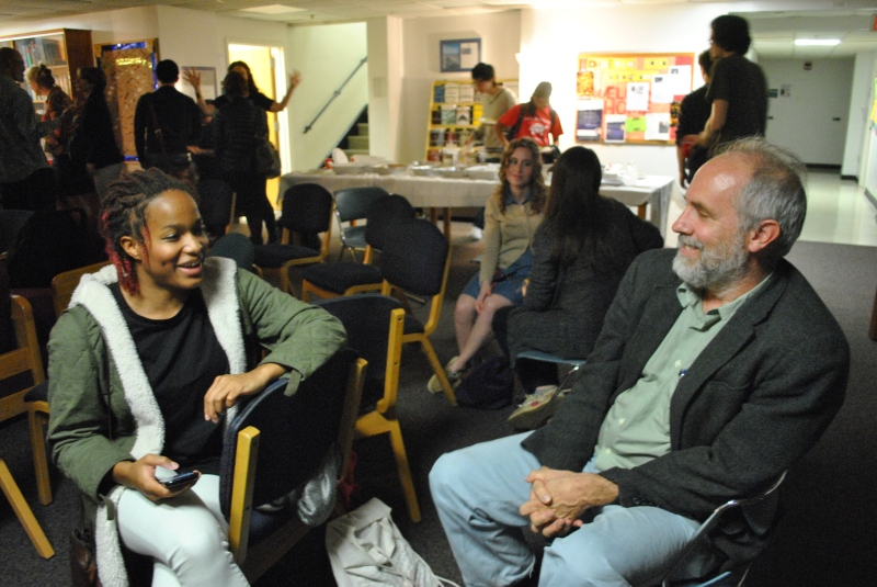 Former Writers' House student Taryn Harris and Creative Writing professor and poet Don Berger converse during a Writers' House Q&A session in Dorchester Hall, where the Writers' House was located prior to its move to Queen Anne's Hall. (Photo courtesy of Joseph Antoshak)