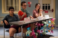 Featured are the judges, focused within their pseudo identities at this year's drag queen prom fashion show. (From left to right) Caroline Aube (Coach Leslie Pyke), Daniel Smerigilo (Mrs. Matthews) and Anna Harris (Becky). (Ryan Eskalis/Bloc Reporter)