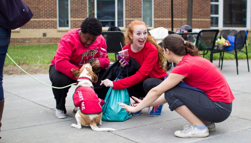 Sophomore public health major Zoe Spiliadis (right), sophomore kinesiology and dance double  major Jessica Straub (center) and senior theater major Sisi Reid (left) embrace a dog at the Dances for Dogs and People Who Walk Them event. (Ryan Eskalis/Bloc Photographer)