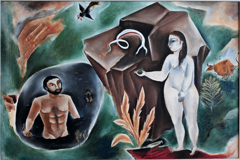 """""""Adam and Eve"""" is an example of Kuniyoshi's work on Western theological themes. (Photo courtesy of Smithsonian American Art Museum)"""
