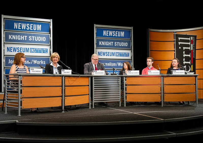 Featured (from left to right) is Leijl Sarcevic, Gene Policinksi, Courtney Mabeus, Teddy Amenabar, and Courtney Radsch. (Photo courtesy of The Newsuem)