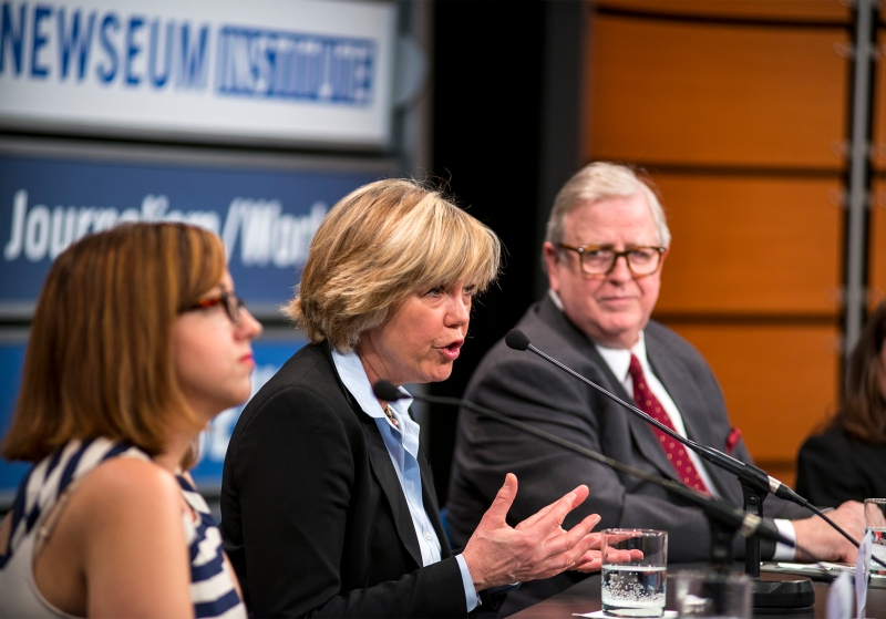 Featured is (from left to right) Lejla Sarcevic, Dana Priest, Gene Policinksi, during Press Uncuffed: #FreeThePress Panel held March 26 at The  Newseum.