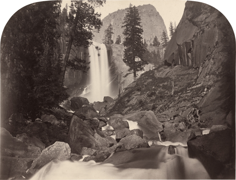 "Charlton Watkins's ""Piwac, Vernal Falls, 300 feet, Yosemite,"" shows the future National Park as it appeared in 1861, representing an artist on the frontiers of art, geography, and technology. (IMage courtesy of the National Gallery of Art)"