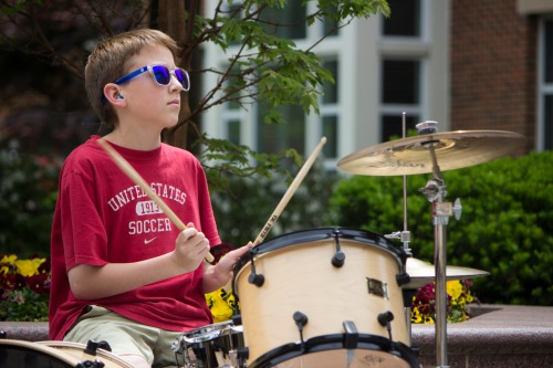 Zach Velli, 13, drums for Cat Jack, a band he formed with his brother Jackson Velli, 14. (Ryan Eskalis/Bloc Reporter)