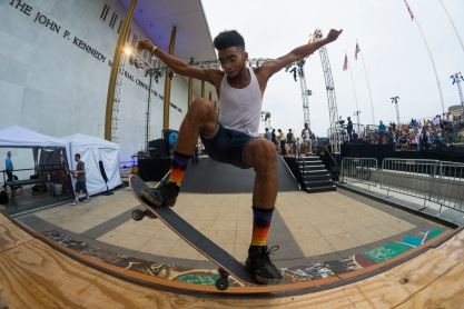 Alex Harvell, a skater at the event, grinds the edge of a quarter pipe outside of The Kennedy Center. (Josh Loock/Bloc Reporter)