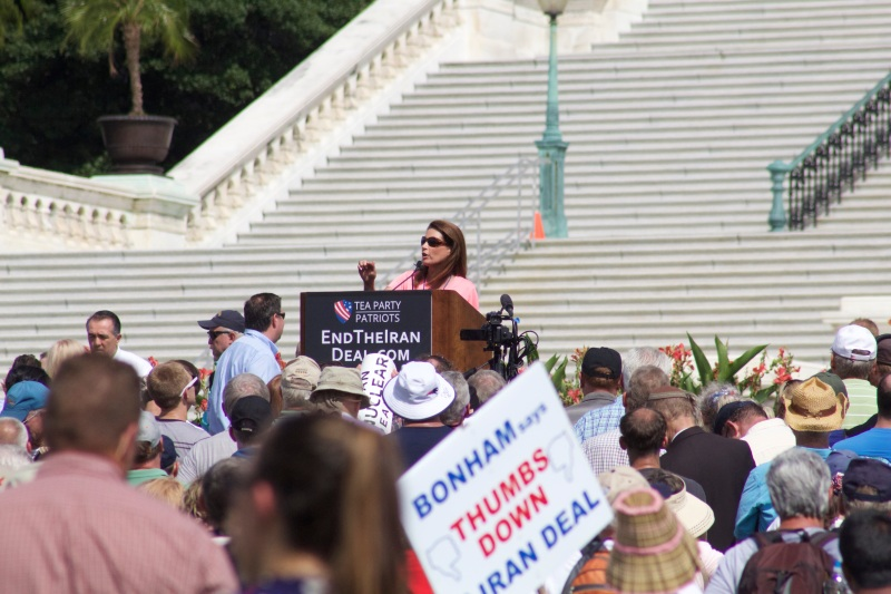 During the rally, Michelle Bachman claimed President Obama is committing Islamic Jihad. (Julia Lerner/Bloc Reporter)