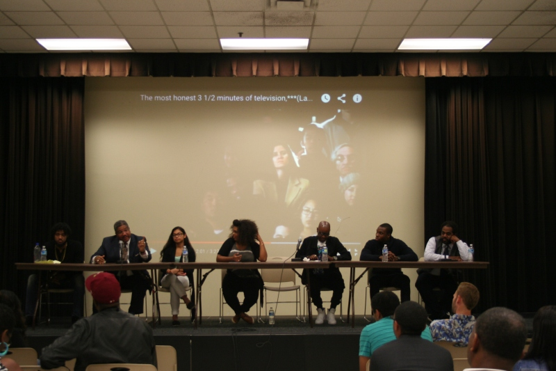 A panel answers questions from the audience about issues facing the black community in Baltimore. (Vickie Connor/Bloc reporter)