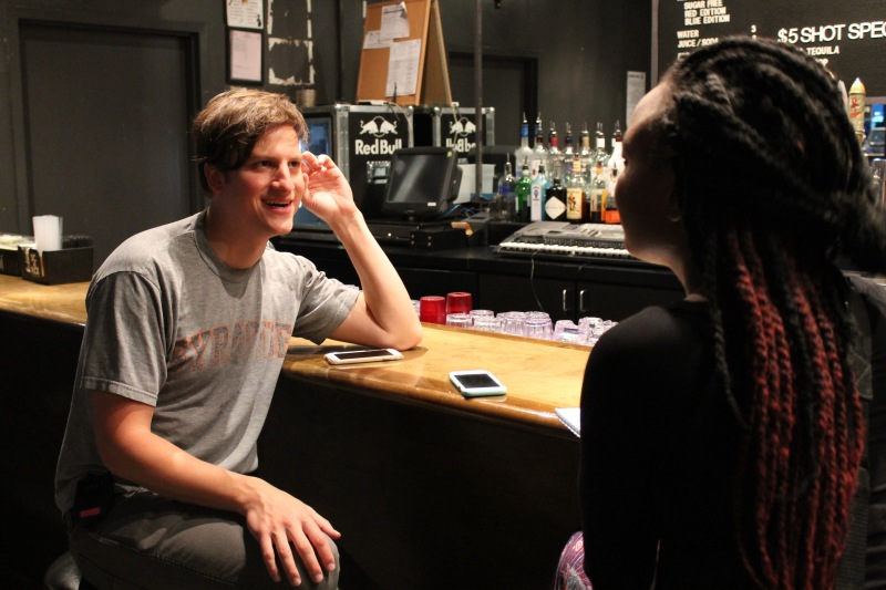 Jon Sandler, the singer and co-writer of Great Good Fine Ok during a pre-show interview with Naomi Harris. The Brooklyn native discussed musical influence, their sound and fans. (Cassie Osvatics/Bloc Reporter)
