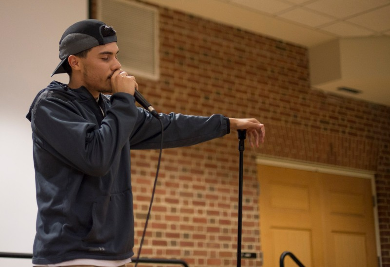 Oct. 1 - Dennis Mendizabel, a Prince George's Community College student, performs at LatinX Monologues. PLUMAS, the organization that coordinated the monologues, says the event is meant to reflect Latin identities through artistic expression. (Ryan Eskalis/Bloc Reporter)