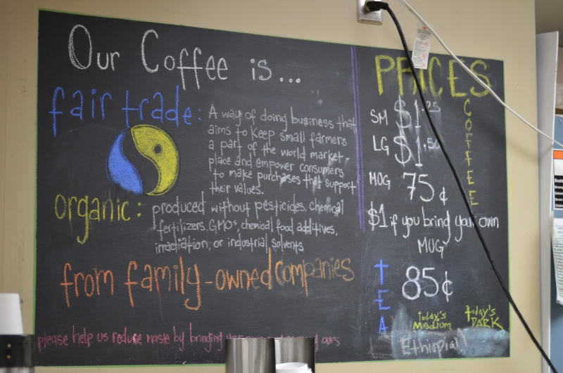 Coffee bar menu at the Co-Op. (Cassie Osvatics/Writer's Bloc Reporter)