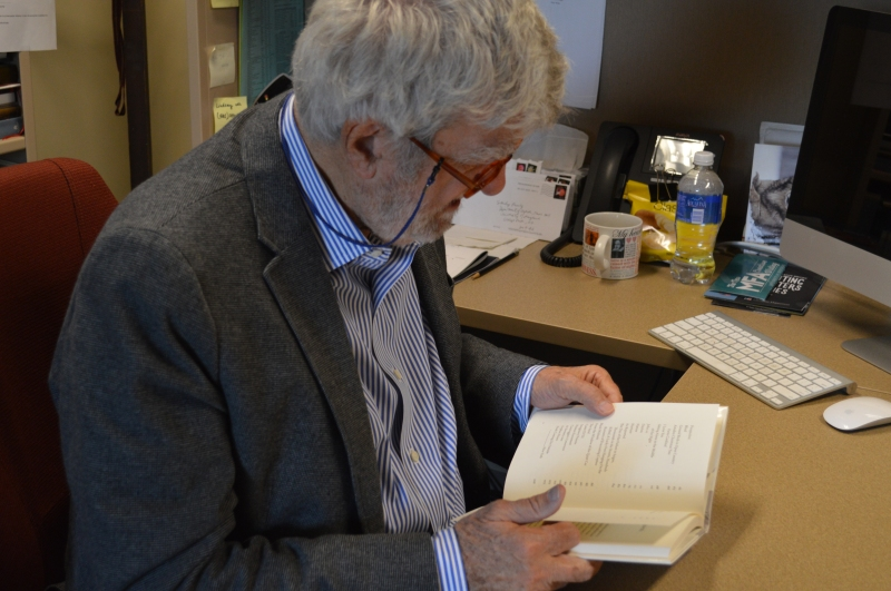 Stanley Plumly in his office during an interview with the Bloc, recalling poems in his most recent book of poetry,