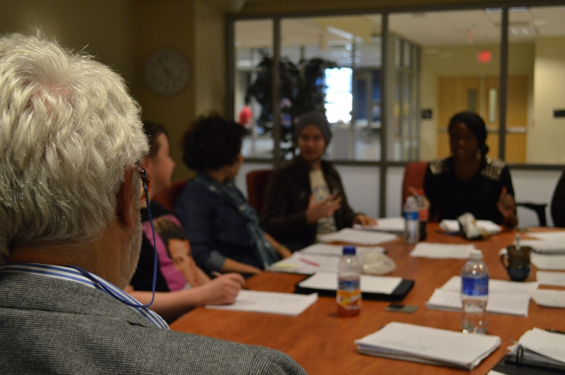 Stanley Plumly during his poetry workshop. Plumly has been the poet laureate of Maryland since 2009 and is head of the creative writing program at University of Maryland. Plumly has taught at the university since 1985. (Cassie Osvatics/Writer's Bloc Reporter)