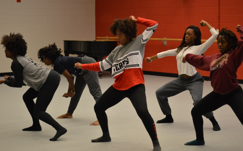 UMD dance group, Prima Dolls, practicing one of their routines. (Cassie Osvatics/Writer's Bloc Reporter)