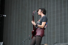 Betsy Wright, the bassist of Ex Hex, as they opened on the Jefferson Stage at 12:30, Saturday at Landmark Music Festival. Ex Hex is from D.C. (Cassie Osvatics/Bloc Reporter)