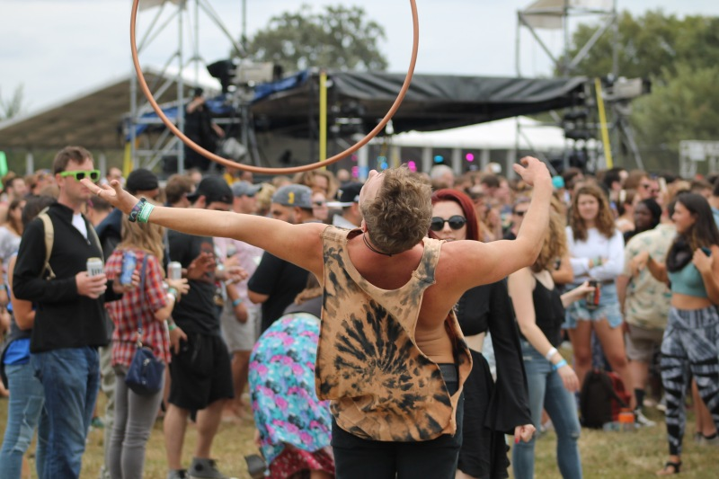 Chad Van Cutsem, a 20-year-old Towson University student and hula hoop enthusiast, performed in the crowd all throughout Saturday's show. (Cassie Osvatics/Bloc Reporter)