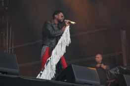 Miguel, an R&B singer from California, during his performance on the Jefferson stage, Saturday at Landmark Music Festival. (Cassie Osvatics/Bloc Reporter)