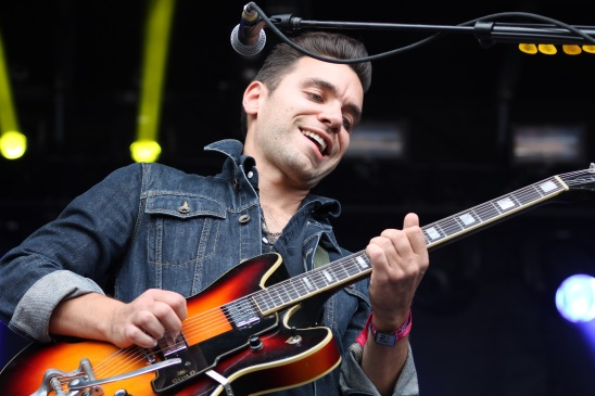 Tom Renaud, guitarist of the indie-folk band from Michigan, Lord Huron. The band performed on the Miller Lite stage at Landmark Music Festival on Sunday. (Cassie Osvatics/Bloc Reporter)