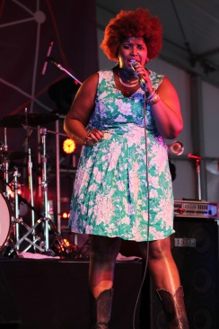 Kam Franklin, lead vocalist of Houston soul band, The Suffers, during their performance on the BMI stage at Landmark Music Festival. (Cassie Osvatics/Bloc Reporter)
