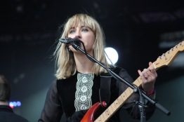 "Rhiannon ""Ritzy"" Bryan, lead singer and guitarist of Welsh, Alternative Rock band, The Joy Formidable, during their performance on the Lincoln stage, Sunday at Landmark Music Festival. (Cassie Osvatics/Bloc Reporter)"