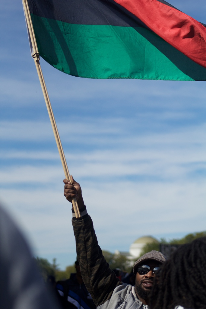 Many attending the march brought the Pan African flag, representative of all of the nations in Africa. It could be seen throughout the crowd, on shirts, and was being sold to attendees. (Julia Lerner/Bloc Reporter)