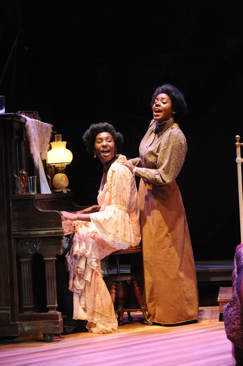 "Two actresses perform on-stage in The Clarice's production of ""Intimate Apparel."" Photo courtesy of The Clarice."
