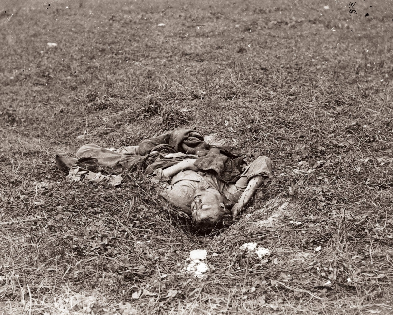 An image of the twisted body of a dead Confederate soldier. (Courtesy of Alexander Gardner and the National Park Service)