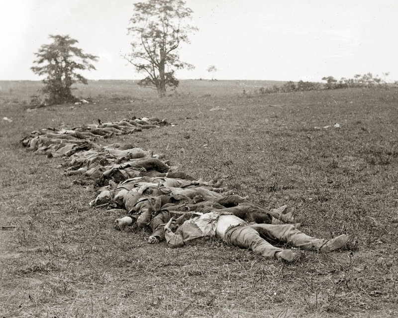 Sept. 19, 1862 - Confederate dead gathered for burial. (Courtesy of Alexander Gardner and the National Park Service)