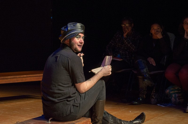 "Anders Tighe, a junior theatre major, performed in a Maryland Shakespeare Players adaption of ""A Midsummer Night's Dream"" in the Cafritz Foundation Theatre of the Clarice. The play was performed in the style of Glasgow Citizen Theatre's Queer Shakespeare. Anders portrayed Bottom and Lysander. (Cassie Osvatics/Bloc Reporters)"